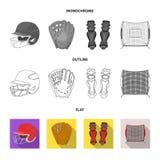 Casquette de baseball, joueur et d'autres accessoires Icônes réglées de collection de base-ball dans l'appartement, contour, symb Illustration Libre de Droits