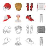 Casquette de baseball, joueur et d'autres accessoires Icônes réglées de collection de base-ball dans la bande dessinée, actions d Images libres de droits
