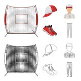 Casquette de baseball, joueur et d'autres accessoires Icônes réglées de collection de base-ball dans la bande dessinée, actions d Photo libre de droits