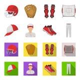 Casquette de baseball, joueur et d'autres accessoires Icônes réglées de collection de base-ball dans la bande dessinée, actions p Illustration Stock