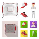 Casquette de baseball, joueur et d'autres accessoires Icônes réglées de collection de base-ball dans la bande dessinée, actions p Images libres de droits