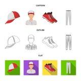 Casquette de baseball, joueur et d'autres accessoires Icônes réglées de collection de base-ball dans la bande dessinée, contour,  Illustration Libre de Droits
