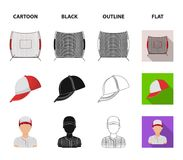 Casquette de baseball, joueur et d'autres accessoires Icônes réglées de collection de base-ball dans la bande dessinée, noir, con Photographie stock libre de droits