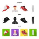 Casquette de baseball, joueur et d'autres accessoires Icônes réglées de collection de base-ball dans la bande dessinée, noir, sym Illustration de Vecteur
