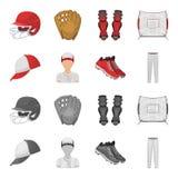 Casquette de baseball, joueur et d'autres accessoires Icônes réglées de collection de base-ball dans la bande dessinée, symbole m Illustration Libre de Droits