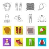 Casquette de baseball, joueur et d'autres accessoires Icônes réglées de collection de base-ball dans le contour, actions plates d Illustration Stock