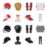 Casquette de baseball, joueur et d'autres accessoires Icônes réglées de collection de base-ball dans le noir, actions de symbole  Illustration de Vecteur