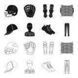 Casquette de baseball, joueur et d'autres accessoires Icônes réglées de collection de base-ball dans le noir, actions de symbole  Illustration Stock