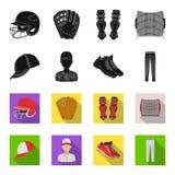 Casquette de baseball, joueur et d'autres accessoires Icônes réglées de collection de base-ball dans le noir, actions de symbole  Illustration Libre de Droits