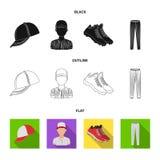Casquette de baseball, joueur et d'autres accessoires Icônes réglées de collection de base-ball dans noir, plat, symbole de vecte Illustration Libre de Droits