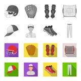 Casquette de baseball, joueur et d'autres accessoires Icônes réglées de collection de base-ball en stock monochrome et plat de sy Illustration Stock