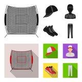 Casquette de baseball, joueur et d'autres accessoires Icônes réglées de collection de base-ball en stock noir et plat de symbole  Illustration Stock