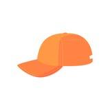 Casquette de baseball orange, illustration de vecteur de bande dessinée d'équipement de sport Images stock