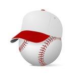Casquette de baseball sur le base-ball Photos libres de droits
