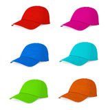 Casquettes de baseball multicolores de mode rendu 3d Photos libres de droits