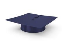Casquillo de la graduación aislado en blanco Imágenes de archivo libres de regalías