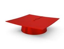 Casquillo de la graduación aislado en blanco Fotografía de archivo libre de regalías