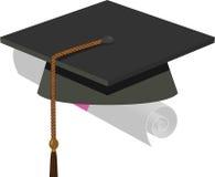 Casquillo de la graduación - birrete negro stock de ilustración