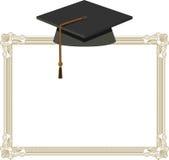 Casquillo de la graduación - birrete negro en el diploma libre illustration