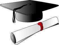 Casquillo de la graduación con grado Foto de archivo libre de regalías