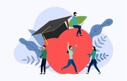 Casquillo de la graduación y manzana grande con conceptos humanos stock de ilustración