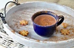 Casquillo del cacao con canela y galletas Foto de archivo