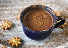 Casquillo del cacao con canela y galletas Imágenes de archivo libres de regalías
