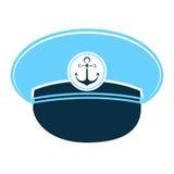 Casquillo del ` s del marinero con un ancla Sombrero del ` s del capitán Fotografía de archivo
