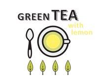 Casquillo del té verde con el limón, hojas verdes, planas Fotos de archivo libres de regalías
