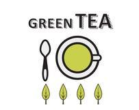 Casquillo del té verde, hojas del verde Fotos de archivo