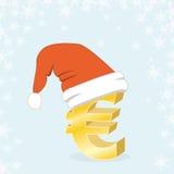 Casquillo euro de Santa de la Navidad que hace compras Imagen de archivo