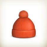 Casquillo rojo hecho punto Foto de archivo libre de regalías