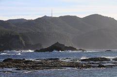 Casquillo Sicie, montañas y mar Fotografía de archivo