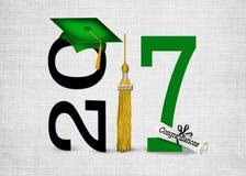 Casquillo verde de la graduación para 2017 Imagenes de archivo