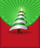 Casquillo verde rojo del árbol de la enhorabuena de la Navidad Foto de archivo