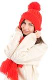 Casquillo y bufanda que desgastan de la mujer Foto de archivo libre de regalías