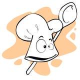 Casquillo y cuchara del cocinero stock de ilustración