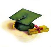 Casquillo y diploma de la graduación Fotografía de archivo