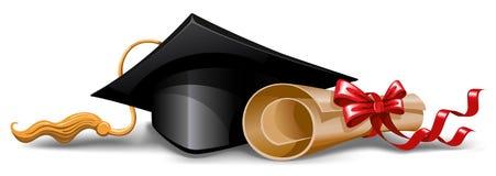 Casquillo y diploma de la graduación Foto de archivo