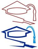 Casquillo y pluma de la graduación Fotos de archivo