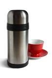 Casquillo y thermos del té. Imagen de archivo libre de regalías