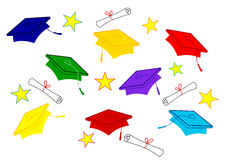 Casquillos coloreados de la graduación Fotografía de archivo
