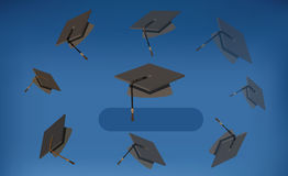 Casquillos de la graduación - birretes negros lanzados en el aire libre illustration