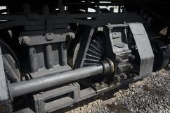 Cass locomotive gear close-up. Close-up of the Shay gear system used on the locomotives at Cass, WV, to help the locomotives manage the steep gradients on the Stock Photos
