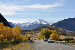 Cass river bridge. Traffic on bridge over the Cass River, South Island, New Zealand, in the autumn Royalty Free Stock Images