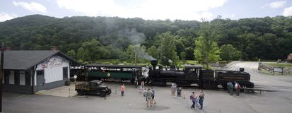 Cass Scenic Excursion Train - 6. The Shay-geared steam locomotive gets ready to take tourists up the old logging railroad into the mountains of West Virginia Royalty Free Stock Image