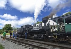 Cass Scenic Excursion Train - 3. The Shay-geared steam locomotive gets ready to take tourists up the old logging railroad into the mountains of West Virginia Royalty Free Stock Photo