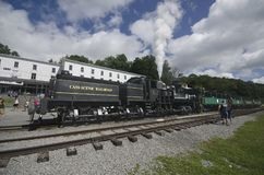 Cass Scenic Excursion Train - 1. The Shay-geared steam locomotive gets ready to take tourists up the old logging railroad into the mountains of West Virginia Stock Photo