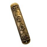 Cassa bronze di Mezuzah dell'annata isolata su bianco immagini stock
