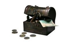 Cassa con soldi Fotografia Stock